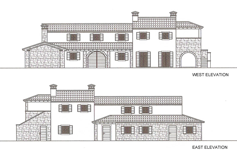 Villa 2, west and east elevations